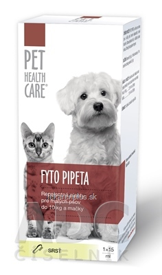 PET HEALTH CARE FYTO PIPETA repelentná, pre malých psov do 10 kg a mačky, 1x15 ml