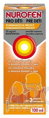 NUROFEN pre deti Pomaranč sus por (fľ.PET hnedá) 1x100 ml