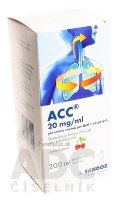 ACC 20 mg/ml perorálny roztok pre deti a dospelých sol por (fľ.skl.hnedá+striekačka) 1x200 ml