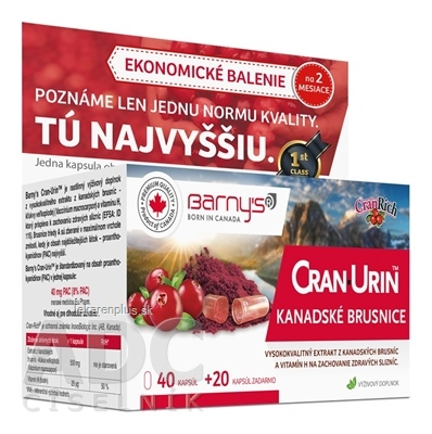 Barnys CRAN-URIN KANADSKÉ BRUSNICE cps 40+20 zadarmo (60 ks)