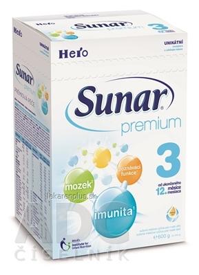 Sunar Premium 3 mliečna výživa (od ukonč. 12. mesiaca ) inov.2015, 1x600 g