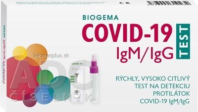 BIOGEMA COVID-19 IgM/IgG TEST rýchly test na detekciu protilátok 1x1 ks