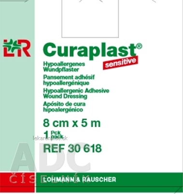 CURAPLAST Sensitive 8cmx5m rychloobväz na rany-5 m rolka v dávkovacej škatuli 1x1 ks