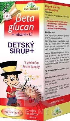 NATURES BETA GLUCAN DETSKY SIRUP+ s príchuťou lesnej jahody 1x100 ml