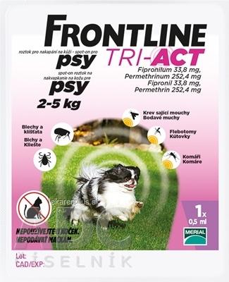 FRONTLINE TRI-ACT Spot-On pre psy XS sol (na kožu, psy 2-5 kg) 1x0,5 ml