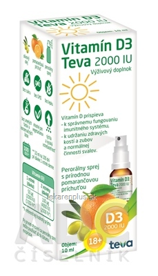 Vitamín D3 Teva 2000 IU sprej, pomarančová príchuť, 1x10 ml