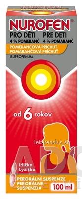 NUROFEN pre deti 4% pomaranč sus por 4,0 g (fľ.PET) 1x100 ml