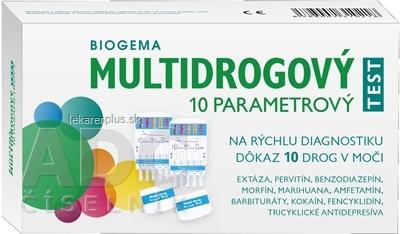 BIOGEMA MULTIDROGOVÝ TEST 10 PARAMETROVÝ na rýchlu diagnostiku 10 drog v moči 1x2 ks