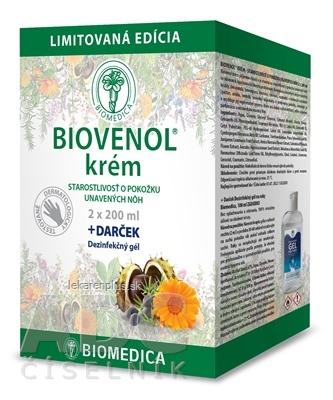BIOMEDICA BIOVENOL krém + darček 2x200 ml + darček BIOMEDICA Dezinfekčný gél 1x100 ml, 1x1 set
