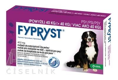 FYPRYST 402 mg PSY NAD 40 KG roztok na kvapkanie na kožu pre psov (pipeta) 1x4,02 ml