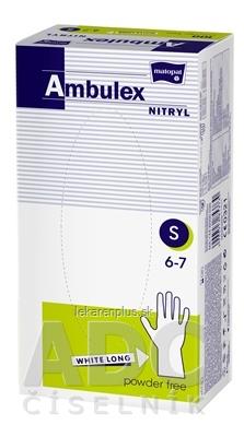Ambulex rukavice NITRYLOVÉ veľ. S, biele, nesterilné, nepúdrované, 1x100 ks