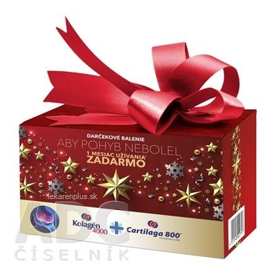 Kolagén 4000 + darček Cartilaga 800 prášok vo vrecúškach 30 ks + darček tbl 30 ks, vianočné balenie 1x1 set