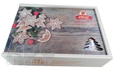 AGROKARPATY kazeta Elixír čajová, drevená Vianoce bylinný čaj (6 druhov po10 ks) 60x1,5 g (90 g)