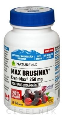 SWISS NATUREVIA MAX BRUSNICE Cran-Max 250 mg tbl (20 % zdarma) 1x36 ks