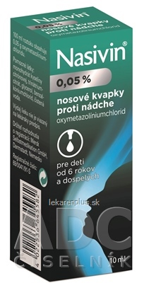 NASIVIN 0,05 % int nas (fľaša sklenená, hnedá s kvapkadlom) 1x10 ml
