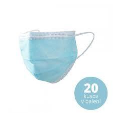ochranné rúška ( maska ) 3-vrstvové jednorázové – balenie 20ks