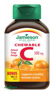 Jamieson Vitamín C 500mg tablety na cmúľanie s príchuťou pomaranča 120tbl.