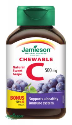 Jamieson Vitamín C 500mg tablety na cmúľanie s príchuťou hrozna 120tbl