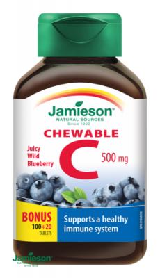 Jamieson Vitamín C 500mg tablety na cmúľanie s príchuťou čučoriedky 120tbl.